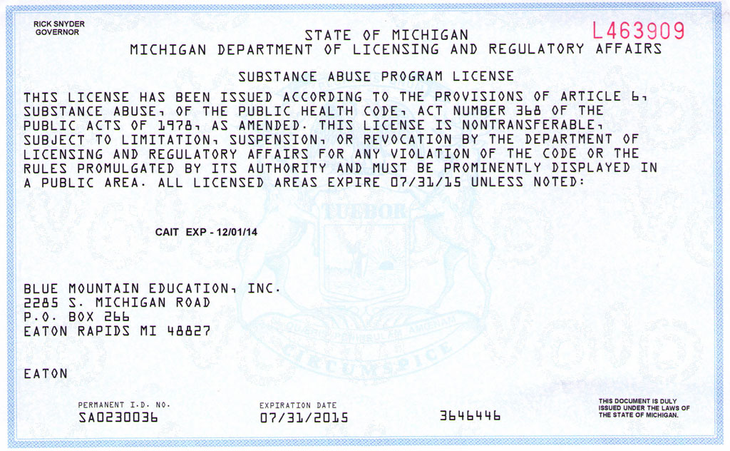 Michigan Approval
